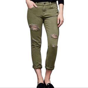 Gap Girlfriend Distressed Olive Jeans